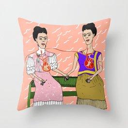 The Two Fridas Throw Pillow