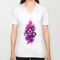 cross V-neck T-shirts featuring cross by melazerg