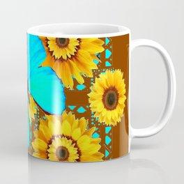 BROWN KANSAS SUNFLOWERS TURQUOISE BUTTERFLIES Coffee Mug