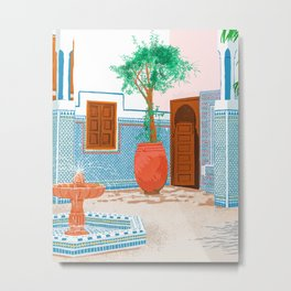 Moroccan Villa #painting #illustration Metal Print