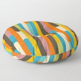 Retro Color Block Popsicle Sticks Orange Floor Pillow