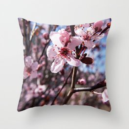 Pink Blossom Photography Print Throw Pillow