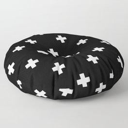 Swiss cross pattern white on black Floor Pillow