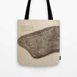 New York, Manhattan, Vintage Map Tote Bag