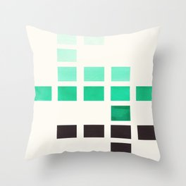 Colorful Teal Turquoise Green Mid Century Modern Minimalist Square Geometric Pattern Throw Pillow