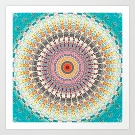 Teal Orange Yellow Boho Mandala Art Print