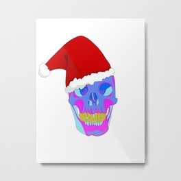 The Death Of Christmas - Santa's Skull Metal Print
