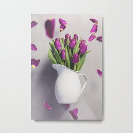Levitating purple tulips against old concrete background Metal Print