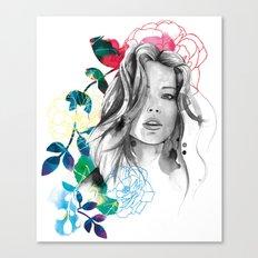 Kristen fashion watercolor portrait Canvas Print