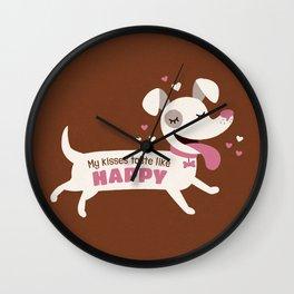 Dog kisses Wall Clock