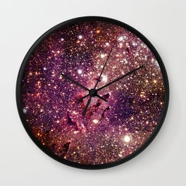 Galaxy : Eagle Nebula Mauve Burgundy Purple Gold Wall Clock