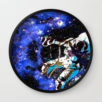 astronaut Wall Clocks featuring Astronaut  by Saundra Myles