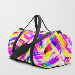 Neon Pink Yellow Brushstroke Explosion Art Duffle Bag