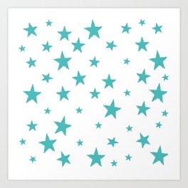 Hand-Drawn Stars (Teal & White Pattern) Art Print