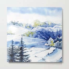 Wintery Forest Metal Print