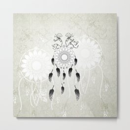 Dreamcatcher in black and white Metal Print