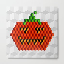 Halloween 8 bit, old school design Metal Print