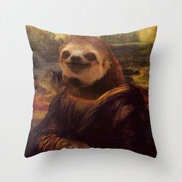 Sloth  Mona Lisa Throw Pillow