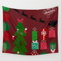 xmas Wall Tapestries featuring Xmas by JuniqueStudio