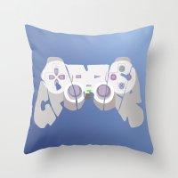 gamer Throw Pillows featuring Gamer by pokegirl93