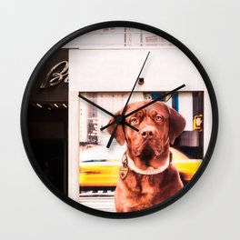 Surrealism Dog in the City Wall Clock