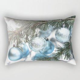 Blue Christmas baubles on tree Rectangular Pillow