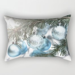 Blue Christmas baubles on tree Rectangular Pillow