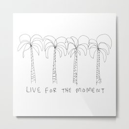 Palm Tree Illustration Summer Tropical Black and White - Live For The Moment no.2 Metal Print