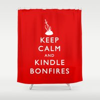 kindle Shower Curtains featuring Keep Calm & Kindle Bonfires by Zach Shonkwiler