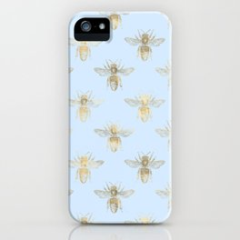 Pretty Pale Blue and Gold Bee Pattern iPhone Case