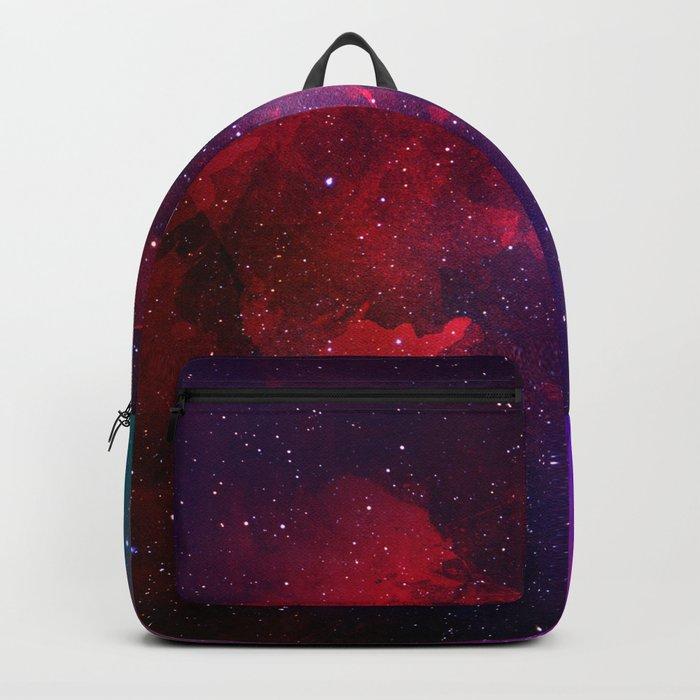 Purple & Red Watercolor Space Pattern Backpack