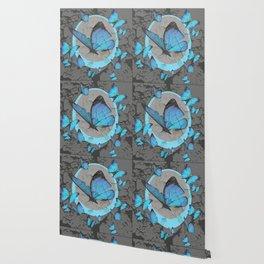 SHABBY CHIC  NEON BLUE BUTTERFLIES  & CHARCOAL GREY  N MOD Wallpaper