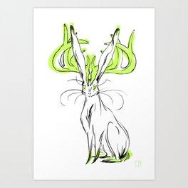 Jackalope - Chartreuse Art Print