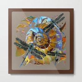 Black Dragonflies Brown-Grey-Opal Color Spiral Abstract Metal Print
