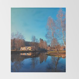 Winter mood on the river II | waterscape photography Throw Blanket