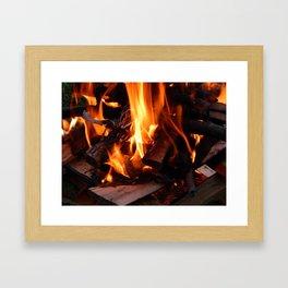 Fire, fire burning firewood Framed Art Print