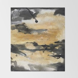 Black and Gold Brush Stroke Abstract Throw Blanket