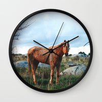 sam smith Wall Clocks featuring Sam by Kathrin Legg