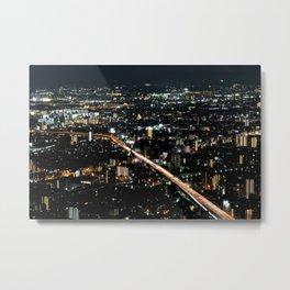 City View 'Night in Osaka, Japan' Metal Print