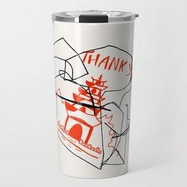 Chinese Food Takeout - Contour Line Drawing Travel Mug