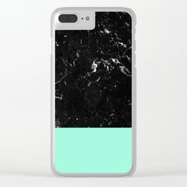 Mint Meets Black Marble #1 #decor #art #society6 Clear iPhone Case