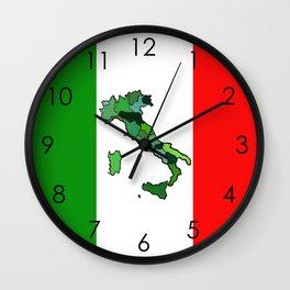 Map of Italy and Italian Flag Wall Clock