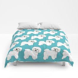 Bichon Frise Dog on blue Comforters
