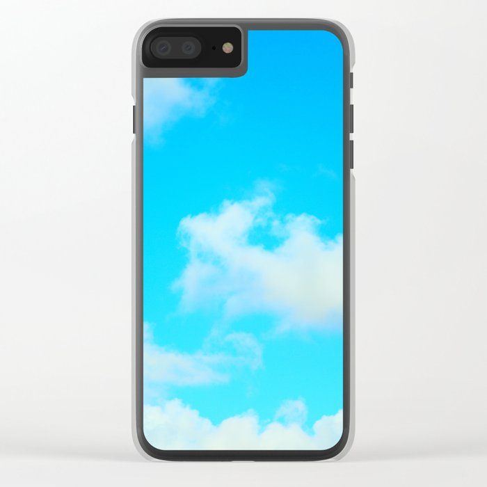 White Clouds Bright Blue Sky Clear iPhone Case