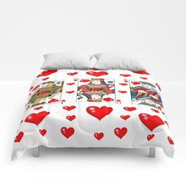 JACK, QUEEN, KING OF HEARTS SUIT CASINO  FACE CARDS Comforters