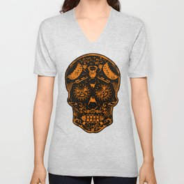 Strongman Sugar Skull, Dia De Los Deadlift Unisex V-Neck