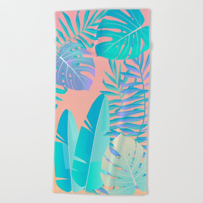 Tropics ( monstera and banana leaf pattern ) Beach Towel