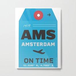 Amsterdam airport code AMS tag Metal Print