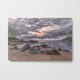Cloudy beach sunset Metal Print