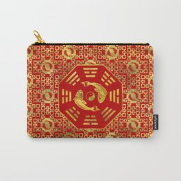 Luxury Oriental Red on Black Pair of Koi Fish in Bagua Carry-All Pouch